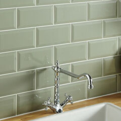 Metro Bevelled Sage Wall 10x20cm (7mm thick approx)
