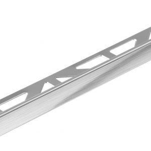 Square Edge (L-shape) Tile Trim 10mm x 2.5mtr Silver Brushed Anodised Aluminium (Dural Durosol – DSA1062-SF)