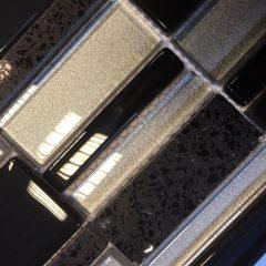 Starburst Black & Silver Glass & Porcelain Mosaic Mix 34x30cm