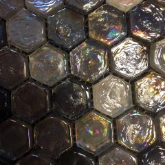 Queenstown Black & Grey Glass Hexagon Mosaic Mix 28.5x31cm