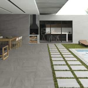 2cm thick Trafalgar Dark Grey 60x60x2cm Porcelain Tiles for outside use