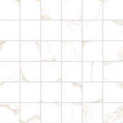 Atmosphere Marble White and Gold Polished Porcelain Mosaic 30x30cm