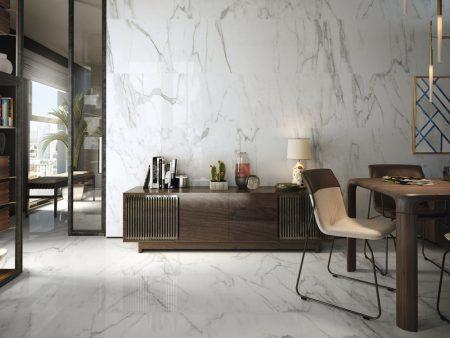 Large format polished Carrara Marble effect porcelain floor