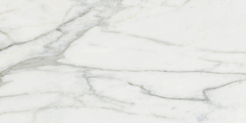 Large format polished Carrara Marble effect porcelain floor
