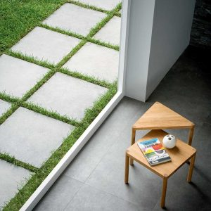 2cm thick Martello Antracite Porcelain Tiles for outside use 60x60x2cm
